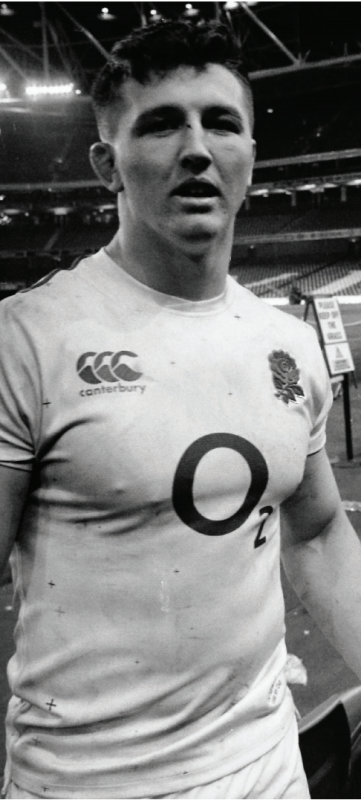 Black and white photo of Tom Curry in England Rugby kit
