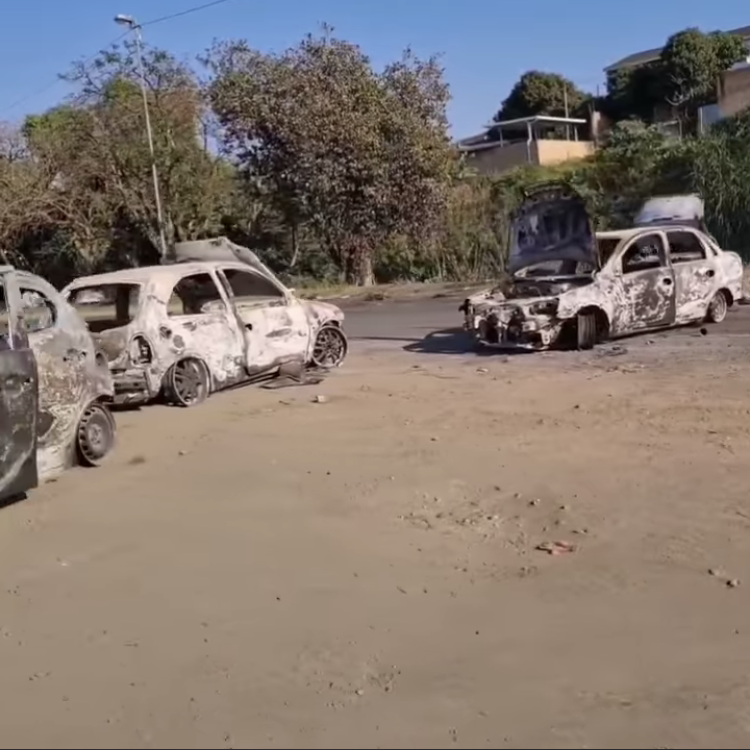 The cars of South African looters set on fire and lined up as a deterrent