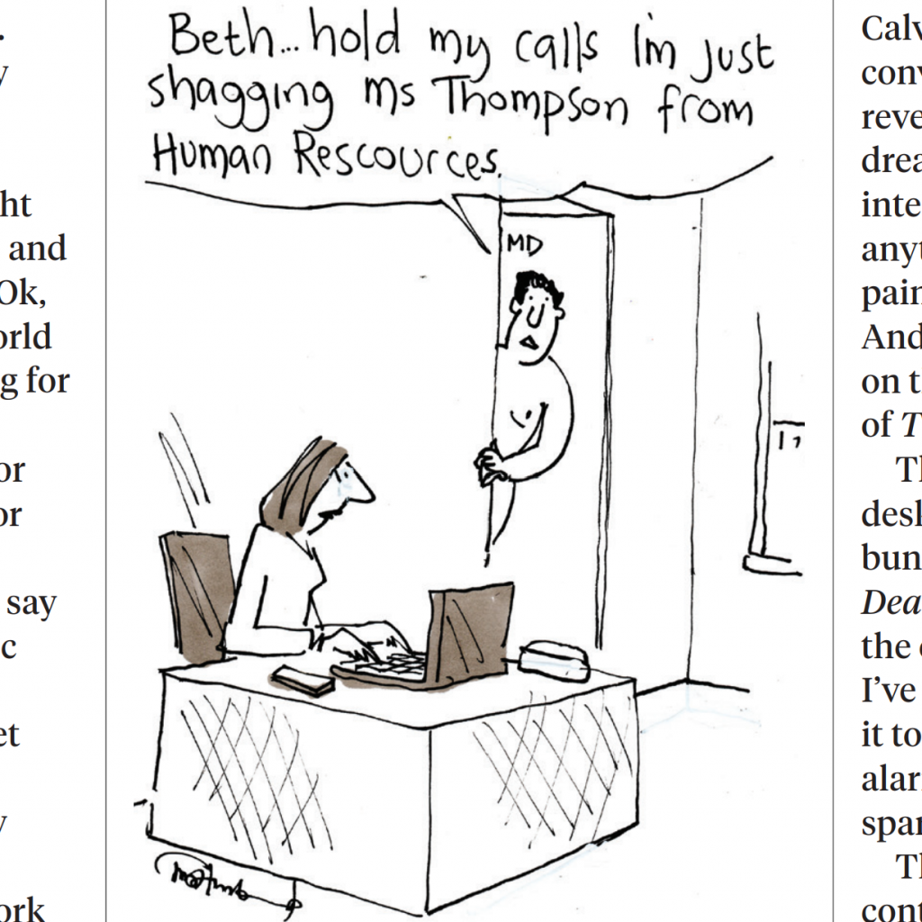cartoon of a man engaged in office romance