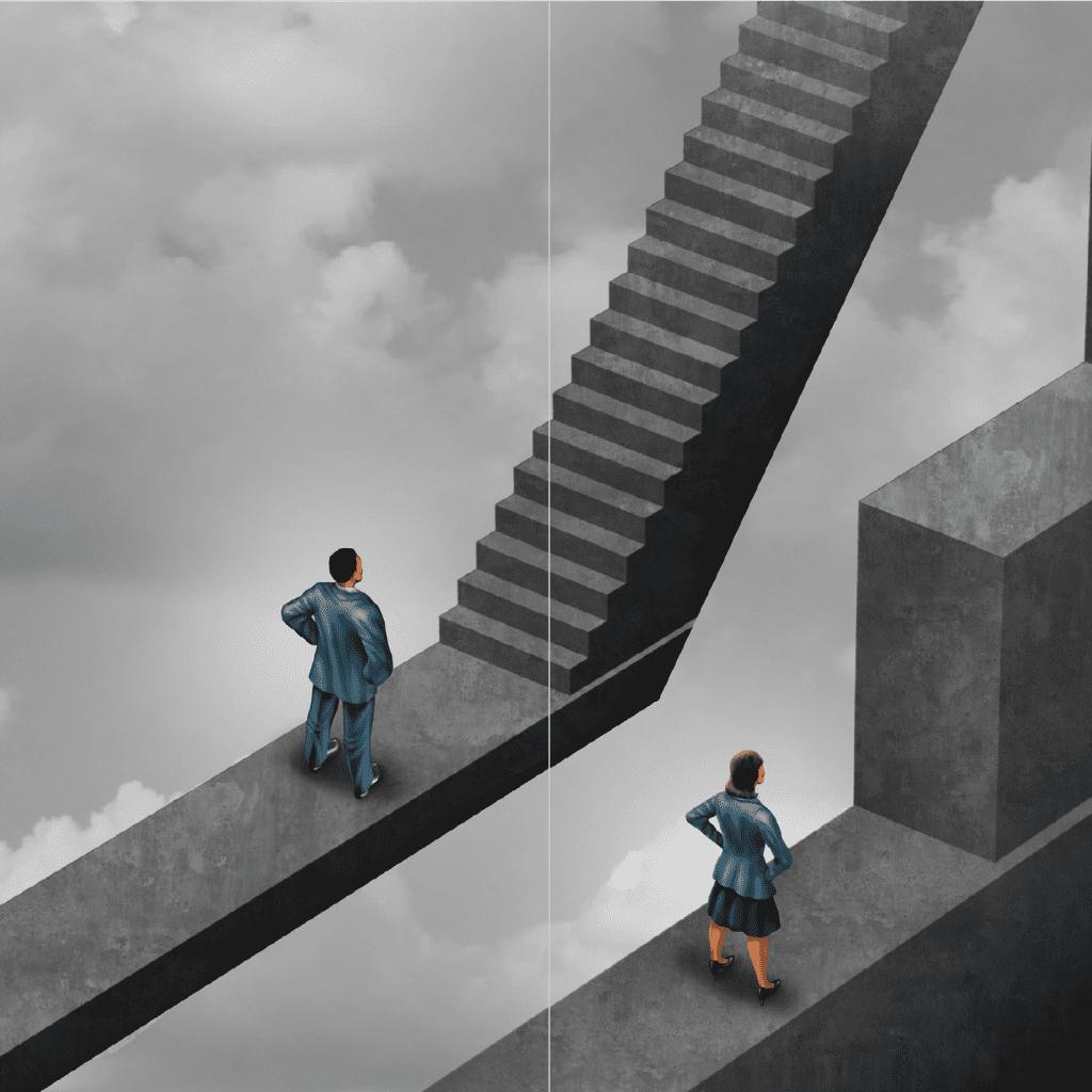 men facing stairs and women facing a stumbling block